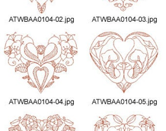 Decorative-Lovely-Bird-Redwork-5x7  ( 10 Machine Embroidery Designs from ATW ) XYZ17E