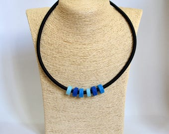 Handmade choker necklace made of blue circles