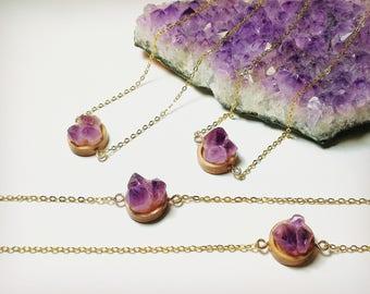 Crystal necklace, Amethyst Necklace, Raw Amethyst, Amethyst Cluster, Gemstone Necklace, February birthstone