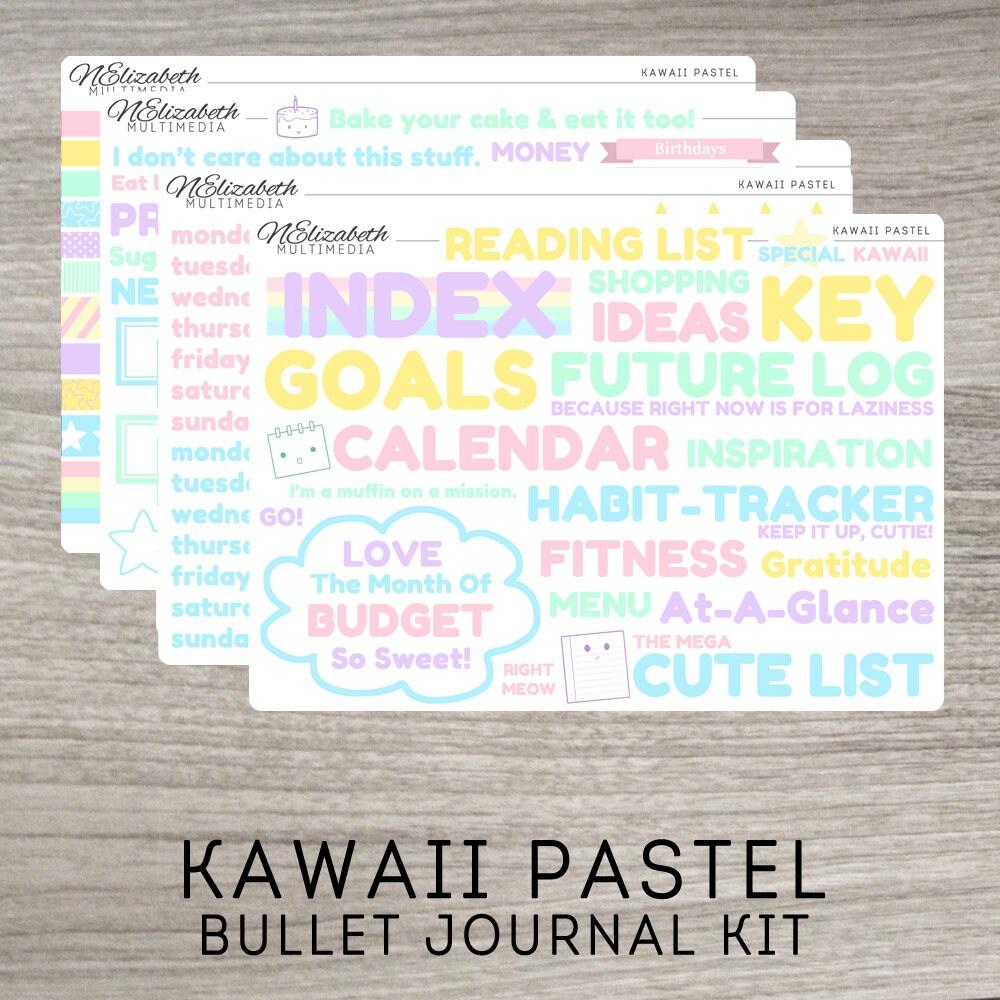 kawaii pastel bullet journal kit bujo stickers bujo kit. Black Bedroom Furniture Sets. Home Design Ideas