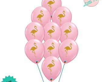 10 x Pink Flamingo Balloons Flamingle Birthday Party Decoration