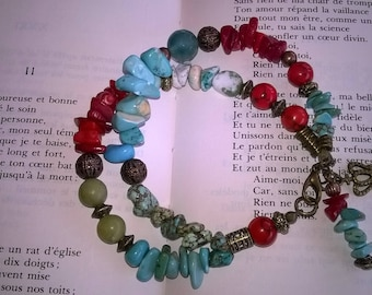 Bohemian double bracelet.Mix of stones woman jewelry.Gift for her.