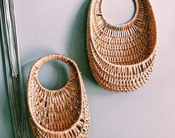Vintage Pair of Rattan Hanging Baskets / Boho Nesting Baskets / Hanging Plant Holder