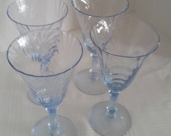 Cambridge Glass Caprice Moonlight Blue Water Goblet, pattern 300