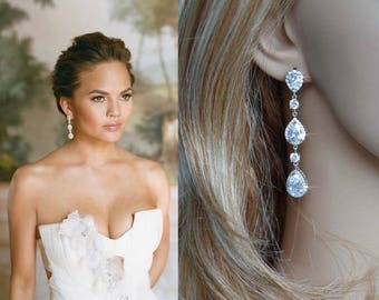 Dramatic Celebrity Inspired Luxe Cubic Zirconia CZ Triple Drop Dangle Bridal Earrings, Bridal, Wedding (Sparkle-2756)