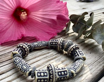 Navy and White Tribal Bracelet