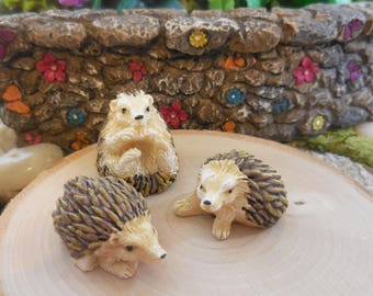 Fairy Garden Hedgehog ~ Set of 3 Miniature Forest Hedgehog Figurines ~ Miniature Animal for Fairies ~ Animal Figurine Terrarium Supply