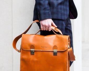 Mens Leather briefcase, 13 inch laptop messenger bag with shoulder strap - Niche Lane Waring Tan