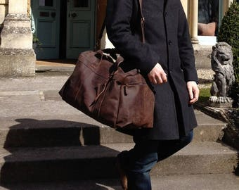 Full Grain Buffalo Leather weekend Bag Travel holdall duffel overnight  baggage cabin luggage for men - Niche Lane - Seconds