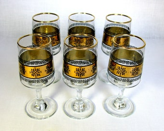 Mid Century Glasses Set / Sherry Glasses / Toasting Goblets / Wine Glasses / Black and Gold / 22 Kt Gold / Hand Blown / Hollywood Regency
