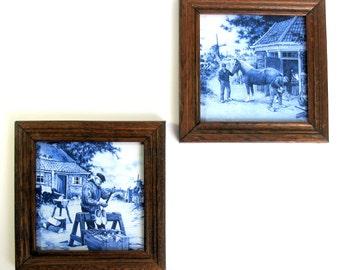 Delfts Blue Tile / Oak Framed / Set Of Two / Mosa Holland / Blue & White / Art Tile / Shoemaker / Blacksmith / Dutch / Rustic / Scenic Tile