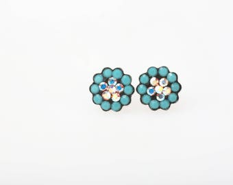 Sterling Silver Pave Radiance Stud Earrings, Swarovsky Crystals, 7mm Flower, Turquoise and Crystal AB Color, Unique BlingBling Korean Style