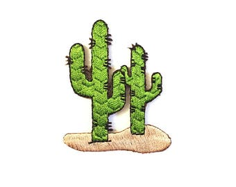 Fusible embroidered Cactus patch. Pillow, personalized, craft, crafting, diy, summer, tropical, jungle, design, cactus, desert, arty
