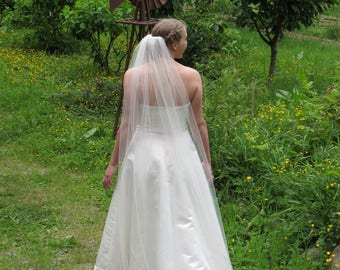"75"" Floor Length Wedding Veil with 1/8"" Satin Ribbon Edge"