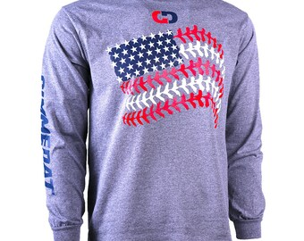 Baseball Seams American Flag Long Sleeve Baseball T-Shirt, Baseball Shirts, Baseball Gifts - Free Shipping!
