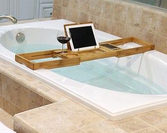 Bamboo Bathtub Caddy, Bathroom Accessory, Spa Gift, iPad Holder, Phone  Holder,