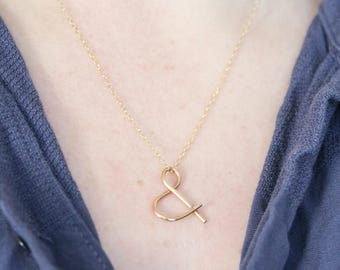 Ampersand Necklace, Gold Ampersand Necklace, Gold Ampersand, Symbol Necklace, Gold Necklace, Minimalist Jewelry, Simple Necklace, Delicate
