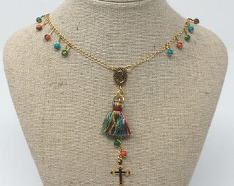 Rosary chain in gold filled with turqouise