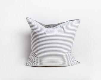 Grey Linen Pillow Cover, Grey, Linen Pillow Cover, Stripe Linen Pillow, Striped Pillow, Linen Pillow, Grey White Pillow, Farmhouse