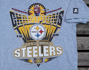 1995 Pittsburgh Steelers AFC Champions Starter grey t-shirt large Made in USA