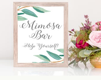Eucalyptus Bohemian Floral Mimosa Bar Wedding Sign | Boho Greenery Rustic Herbal Bar Wedding Sign | Greenery Leaf  Printables | EUC1174