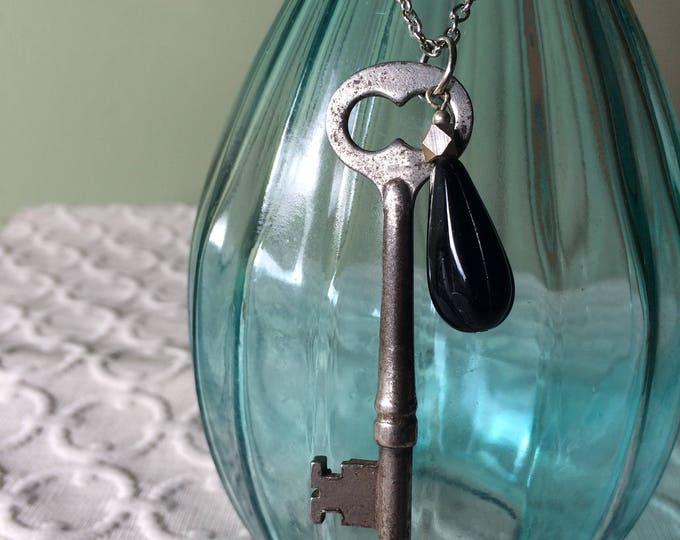 Large Skeleton Key Necklace, black accent bead and silver chain