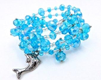 Blue memory wire bracelet, crystal bracelet, blue wrap bracelet, wrap bracelet, beaded bracelet, dolphin bracelet, beach bracelet