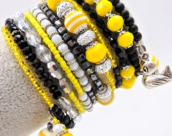 Memory wire bracelet, rubber ducky bracelet, yellow and black bracelet, beaded bracelet, wrap bracelet, stacked bracelet, cuff bracelet