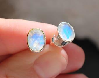 Moonstone Stud Earrings, jewelry gift coworker, gift girlfriend earrings, June Birthstone, Moonstone for her, Minimal delicate earrings