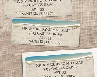 """Printable Water's Edge Sandy Beach Address Labels, Personalized 2 5/8"""" x 1"""" Labels, Editable PDF, Instant Download"""