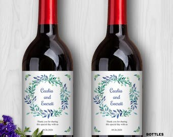 "Printable Blue Watercolor Wreath Floral Wine Bottle Labels - Bridal Shower or Wedding; 4"" x 5"" Labels - Editable PDF, Instant Download"