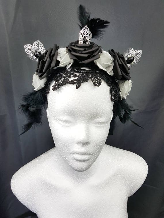 SALE Gothic lace roses headpiece silver black / lace mask rose headpiece in silver black