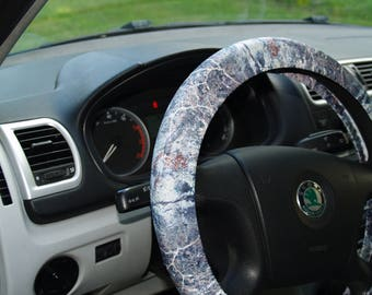 Marble style steering wheel cover Car accessories Birthday gift for him  Cool steering wheel Cute car decoration Stone covers Car decors