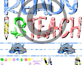 Ready to teach/Ready to learn Set svg, dxf, eps, png