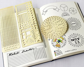 Bullet Journal Essential Stencil Set, Circle Chart Grid Chart Stencils - fits A5 journal & Midori Regular (Essential - Gold)