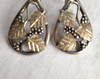 Sterling Silver Grape & Vine Leaf Earrings
