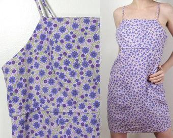 90s Pastel Purple Flower Mini Dress : Size Medium