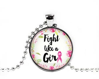 Breast Cancer Awareness Necklace Fight like a Girl Pendant Breast Cancer Jewelry Pink Ribbon Necklace