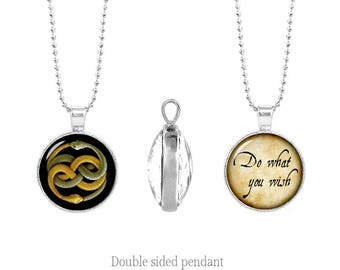 Auryn Double Sided Pendant Neverending story Chain Ouroboros Two Sided Pendant Necklace Do what you wish