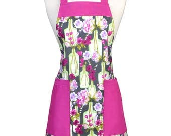 Womens Kitchen Apron Flowers in Pink and Green Retro Kitchen Full Bib with Pockets and Adjustable Neck (DP)