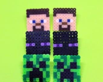 Minecraft Stud Earrings - Mini Perler Beads