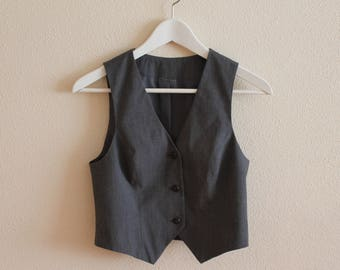 Grey Vest Gray Women's Vest Women Steampunk Vest Fitted Waistcoat Small Size