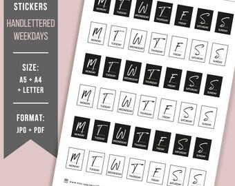 PRINTABLE HAND-LETTERED Bullet journal stickers Daily stickers Weekday stickers Planner stickers minimalistic BuJo minimalist stickers