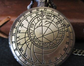 Watch necklace, steampunk necklace, pirate clocks, astrolabes, astrolabe