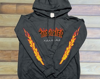 Thrasher Logo Red black Sleeves Unisex hoodie front only Graphic hoodie 1