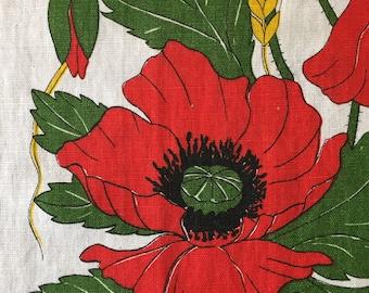 Vintage Linen Poppies tea towel