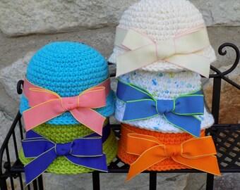 "Cloche Doll Hat with Ribbon - Fits American Girl Doll - 18"" Doll Accessory - Mod Blue, Hot Green, Soft Ecru, Summer Print, Hot Orange"