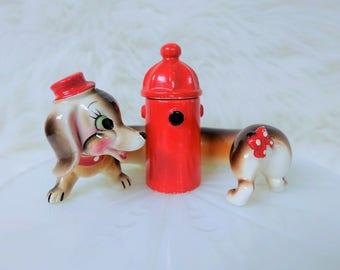 """Vintage Dacshund Dog """"Hi Friend"""" Salt & Pepper Shaker Set"""