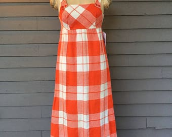 Big Orange White Plaid Sleeveless Jumper from Saks fifth Avenue Juniorette Shop | 1960/70 | Size 0 or XS | Empire Waist Dress