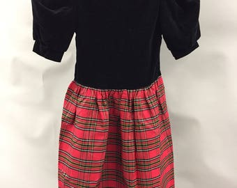 Black Velvet and Red Plaid Drop Waist 1980s Traditional Holiday Dress with Open Back and Bows by Lanz
